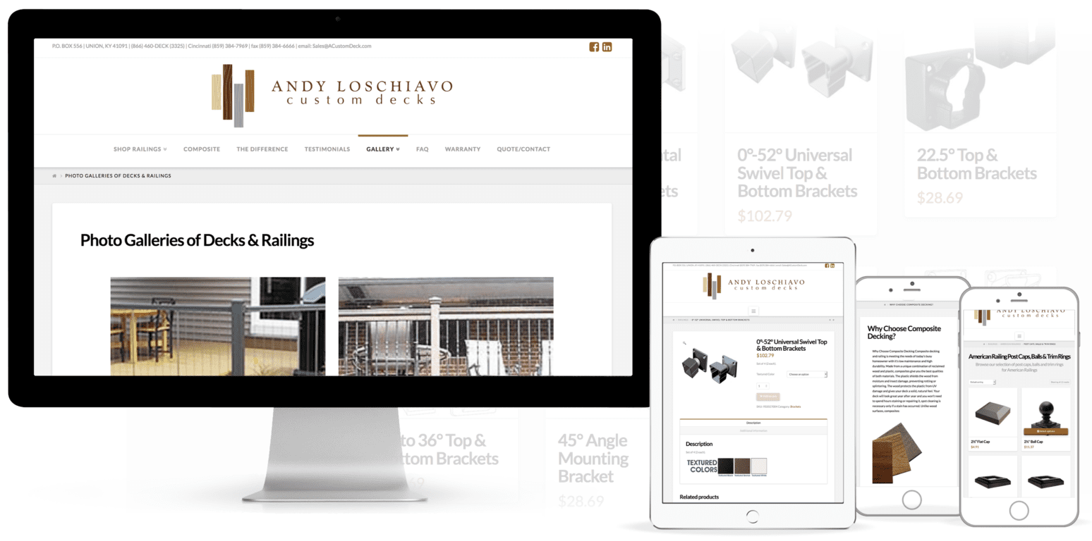 Construction Website Design Example with ECommerce
