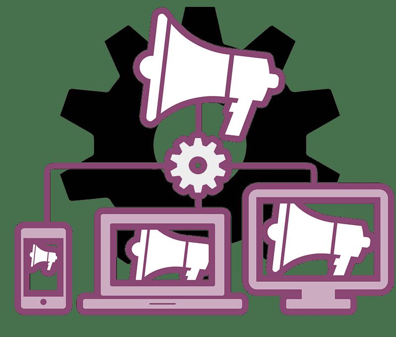 industrial web development illustration - mobile friendly message distribution