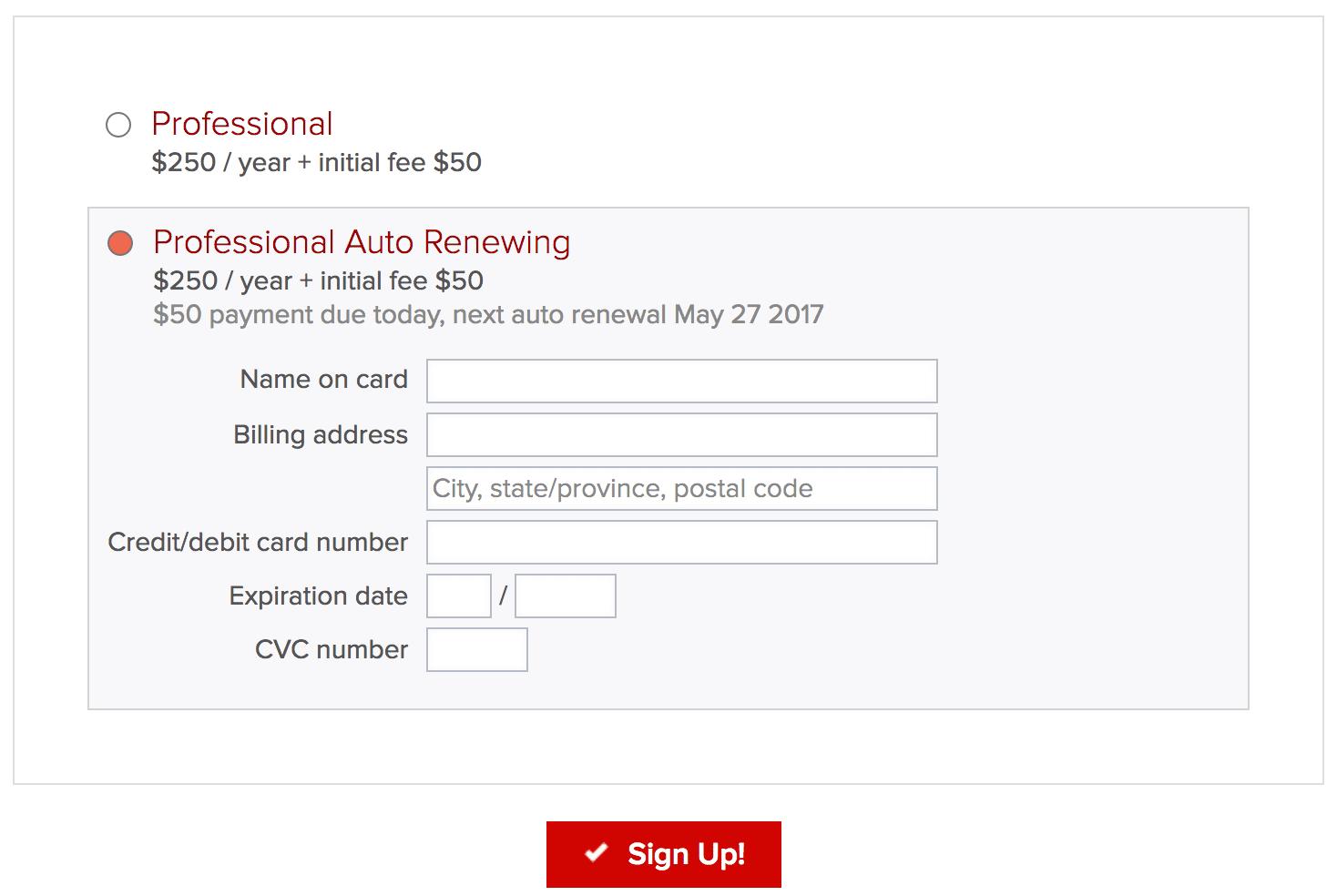 Membershipworks Membership Management Software payment screen