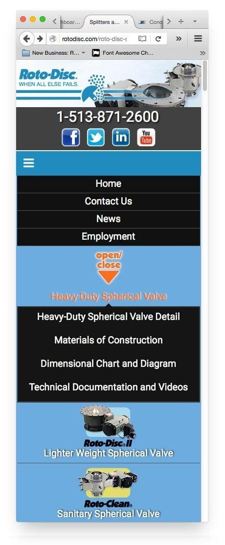 Mobile menu view for Web Design / Website Design for Rotodisc Cincinnati