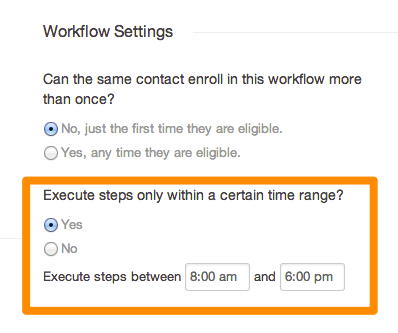 Workflow settings time range