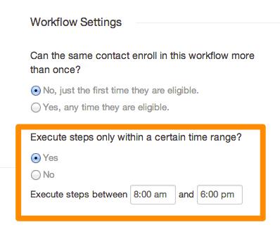 Workflow settings time range