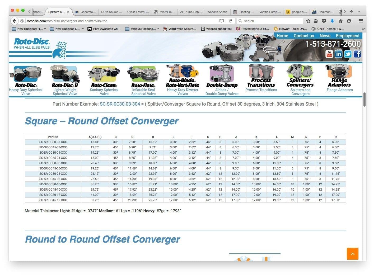 Web Design / Website Design Tables for Rotodisc Cincinnati